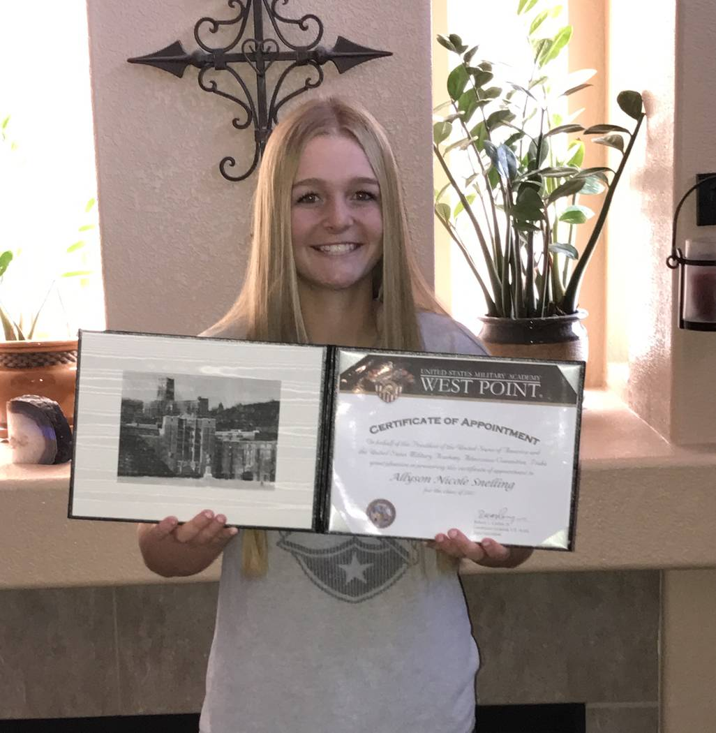 Ally Snelling proudly shows her ceritificate of appointment to the U.S. Military Academy. (Courtesy)