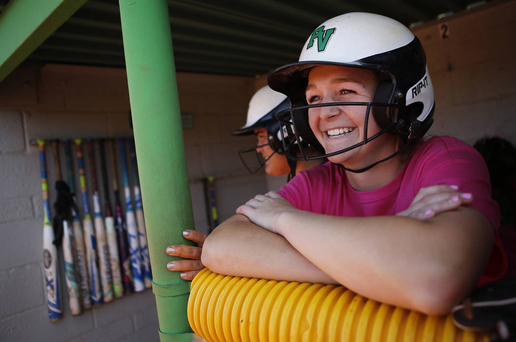 Ally Snelling (12) waits for her turn to bat during a high school softball game at Palo Verde High School on Friday, April 21, 2017, in Las Vegas. Snelling was recently accepted into West Point. C ...
