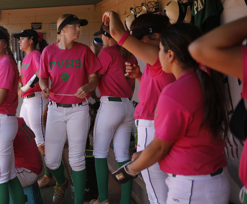 Ally Snelling (12), center, in the dugout during a high school softball game at Palo Verde High School on Friday, April 21, 2017, in Las Vegas. Snelling was recently accepted into West Point. Chri ...