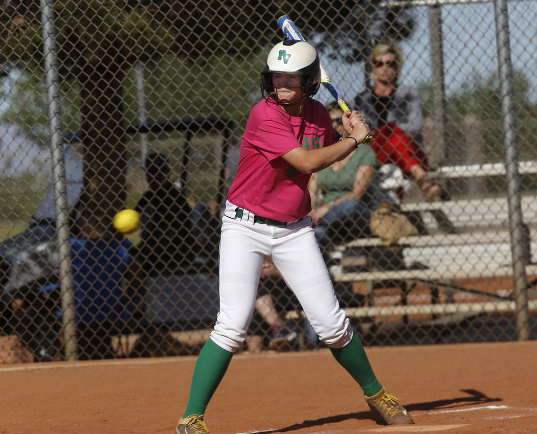 Ally Snelling (12) at bat during a high school softball game at Palo Verde High School on Friday, April 21, 2017, in Las Vegas. Snelling was recently accepted into West Point. Christian K. Lee Las ...