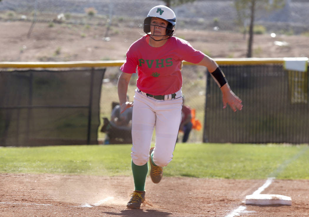Ally Snelling (12) runs towards home plate during a high school softball game at Palo Verde High School on Friday, April 21, 2017, in Las Vegas. Snelling was recently accepted into West Point. Chr ...