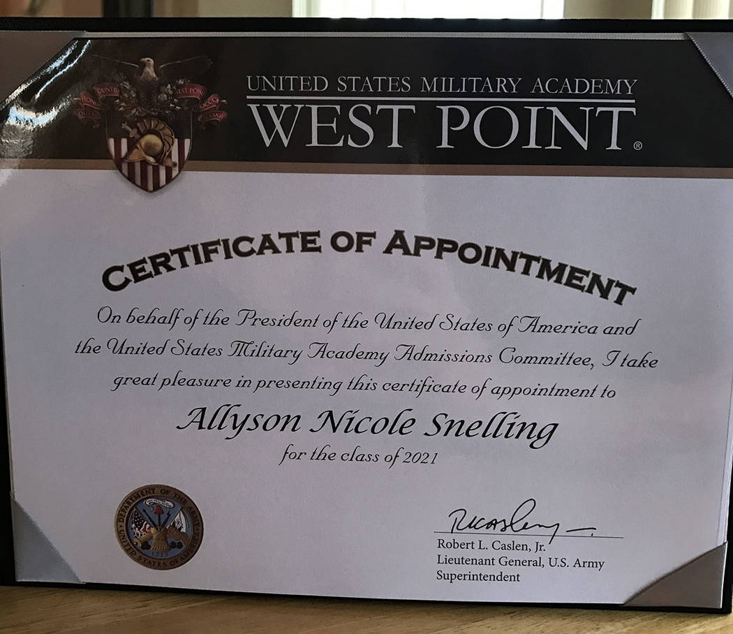 Ally Snelling's ceritificate of appointment to the U.S. Military Academy. (Courtesy)