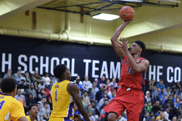 UNLV recruit Justin Jackson puts up a shot for Findlay Prep while competing in the High School Nationals in New York on April 3. (Brett Le Blanc/Daily Commercial)