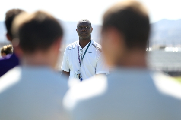 Randall Cunningham, Silverado High School head football coach, looks on during practice at Silverado High School in Las Vegas on Monday, August 10, 2015. Cunningham is a pastor and former NFL quar ...