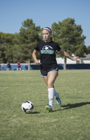 Alexis Kirson, 16, a junior at Green Valley High School, practices soccer skills at the Green Valley soccer field in Henderson on Monday, Aug. 24, 2015. Martin S. Fuentes/Las Vegas Review-Journal