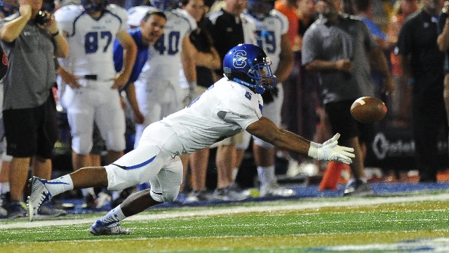 Chandler wide receiver Kolby Taylor is unable to come up with the catch on this play in the first quarter of their high school football game against Bishop Gorman at Bishop Gorman High School in L ...