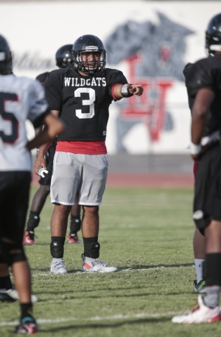 Las Vegas High School linebacker Cruz Littlefield gestures to teammates during a break at football practice at the school Wednesday, Sept. 2, 2015. Donavon Lockett/Las Vegas Review-Journal