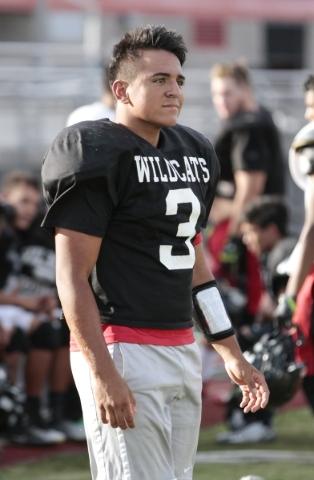 Las Vegas High School linebacker Cruz Littlefield waits during a break at football practice at the school Wednesday, Sept. 2, 2015. Donavon Lockett/Las Vegas Review-Journal
