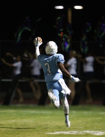 Foothill's Devin Smith runs the ball to score a touchdown after an interception against Silverado during a football game at Foothill High School in Henderson on Friday, Sept. 4, 2015. Chase  ...