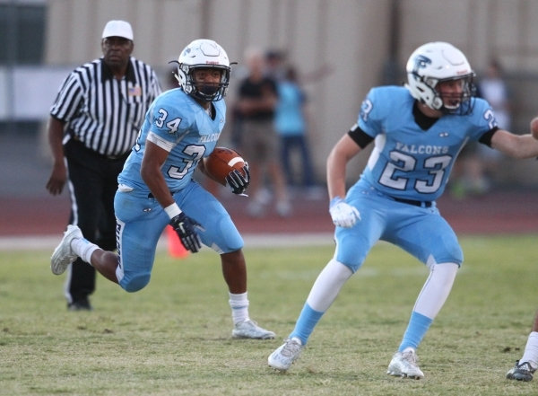 Foothill's Justice Jackson (34) runs the ball against Silverado during a football game at Foothill High School in Henderson on Friday, Sept. 4, 2015. Chase Stevens/Las Vegas Review-Journal F ...