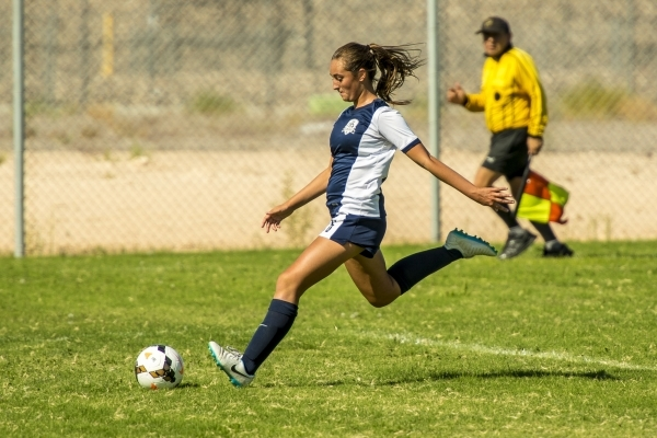Katherine Ballou (6) of the Foothill Falcons kicks the ball downfield against the Silverado Skyhawks during a soccer match at Silverado High School in Las Vegas on Tuesday, Sept. 8, 2015. (Joshua  ...