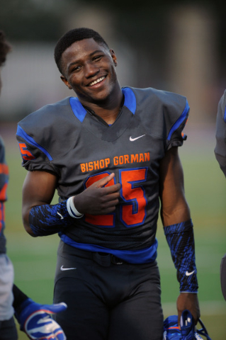 Bishop Gorman wide receiver/defensive back Tyjon Lindsey (25) is seen before the start of their prep football game against Long Beach Poly at Bishop Gorman High School in Las Vegas Friday, Sept. 1 ...