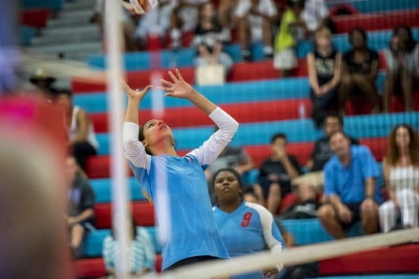 Destiny Gonzalez of Western High School prepares to set the ball against Faith Lutheran High School at Western High School in Las Vegas on Tuesday, Sept. 29, 2015. Joshua Dahl/Las Vegas Review-Journal