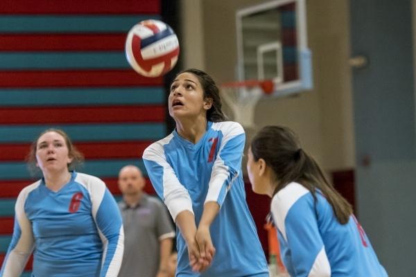 Destiny Gonzalez of Western High School prepares to hit the ball against Faith Lutheran High School at Western High School in Las Vegas on Tuesday, Sept. 29, 2015. Joshua Dahl/Las Vegas Review-Journal