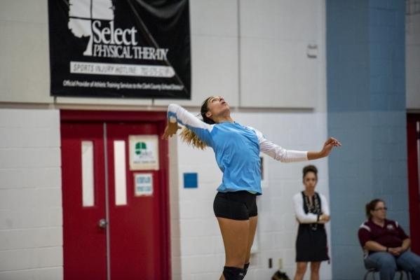 Destiny Gonzalez of Western High School serves the ball against Faith Lutheran High School at Western High School in Las Vegas on Tuesday, Sept. 29, 2015. Joshua Dahl/Las Vegas Review-Journal