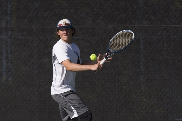 Koby Frei of Moapa Valley High School plays against Ed W. Clark High School during the Division I-A boys doubles tennis championship at Darling Tennis Center in Las Vegas Saturday, Oct. 24, 2015.  ...