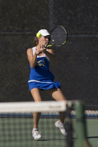 Andrada Stanciu of Sierra Vista High School plays against Faith Lutheran High School during the Division I girls singles tennis championship at Darling Tennis Center in Las Vegas Saturday, Oct. 24 ...