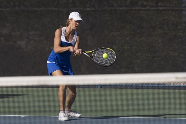 Andrada Stanciu of Sierra Vista High School plays against Faith Lutheran High School during the Division I-A girls singles tennis championship at Darling Tennis Center in Las Vegas Saturday, Oct.  ...
