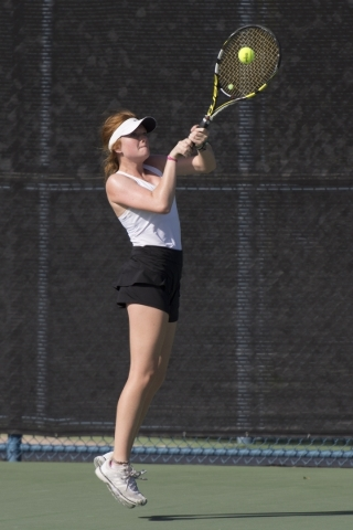 Madison Foley of Faith Lutheran High School plays against Sierra Vista High School during the Division I-A girls singles tennis championship at Darling Tennis Center in Las Vegas Saturday, Oct. 24 ...