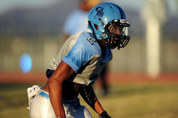 Canyon Springs running back Christian Minor lines up at the line of scrimmage during football practice at Canyon Springs High School in North Las Vegas Wednesday, Oct. 14, 2015. Josh Holmberg/Las  ...