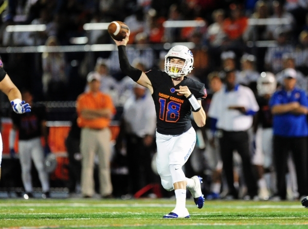Bishop Gorman quarterback Tate Martell (18) passes against Don Bosco in the first half of their prep football game at Bishop Gorman High School in Las Vegas Friday Oct. 23, 2015. Josh Holmberg/Las ...