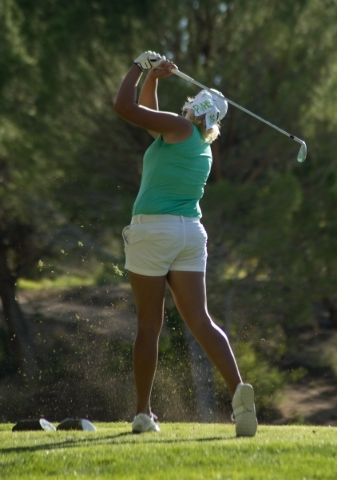 Mikenna Klinger of Palo Verde High School Hits her ball during the girls state championship golf tournament at the Primm Valley Golf Club in Nipton, Calif. on Thursday, Oct. 22, 2015. Daniel Clark ...