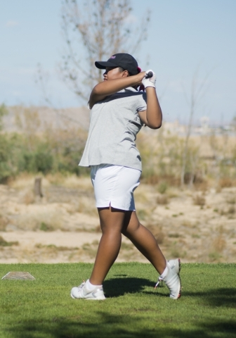 Crystle Querol of Coronado High School hits her ball during the girls state championship golf tournament at the Primm Valley Golf Club in Nipton, Calif. on Thursday, Oct. 22, 2015. Daniel Clark/La ...