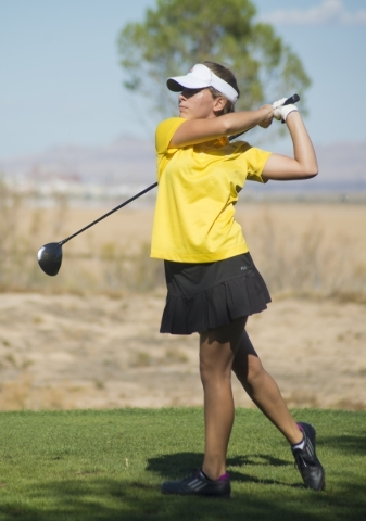 Rebecca Oertel of Bonanza High School hits her ball during the girls state championship golf tournament at the Primm Valley Golf Club in Nipton, Calif. on Thursday, Oct. 22, 2015. Daniel Clark/Las ...