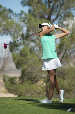Annick Haczkiewicz of Palo Verde High School hits her ball during the girls state championship golf tournament at the Primm Valley Golf Club in Nipton, Calif. on Thursday, Oct. 22, 2015. Daniel Cl ...