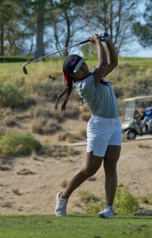 Sami Penor of Coronado High School hits her ball during the girls state championship golf tournament at the Primm Valley Golf Club in Nipton, Calif. on Thursday, Oct. 22, 2015. Daniel Clark/Las Ve ...