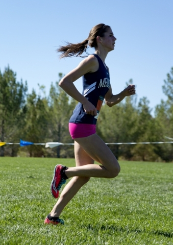 Ellen Hirsberg of The Meadows School finishes first during the girls Division III Southern cross country regional finals at Veterans Memorial Park in Boulder City on Friday, Oct. 30, 2015. Daniel  ...