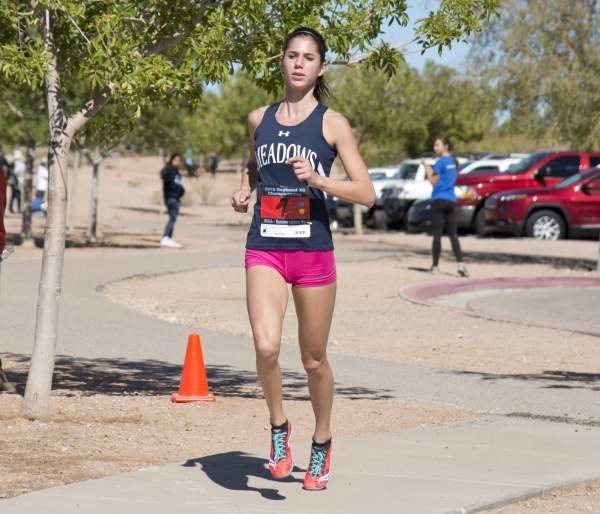 Ellen Hirsberg of The Meadows School competes during the girls Division III Southern cross country regional finals at Veterans Memorial Park in Boulder City on Friday, Oct. 30, 2015. Daniel Clark/ ...