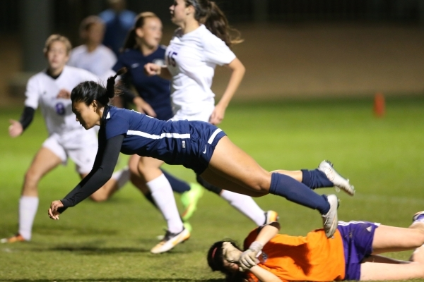 Foothill's Myriah Epino (9) takes a dive in her attempt to score a goal against Foothill in the girls Sunrise Regional semifinal game at the Bettye Wilson Soccer Complex in Las Vegas Thursda ...