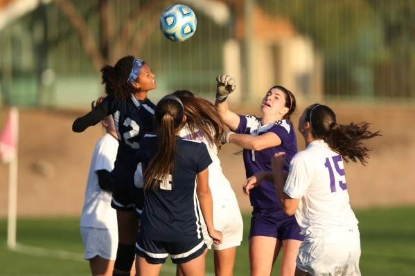 Foothill play offense against Silverado in the girls Sunrise Regional semifinal game at the Bettye Wilson Soccer Complex in Las Vegas Thursday, Nov. 5, 2015. Silverado won 2-1. Erik Verduzco/Las V ...