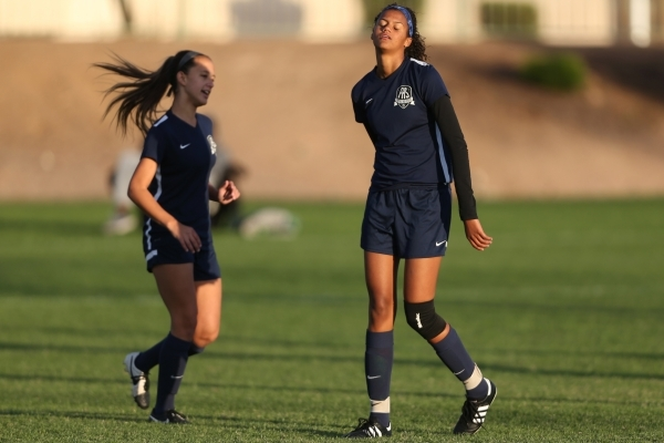 Foothill's Rae Burrell (12) reacts after missing a goal opportunity against Silverado in the girls Sunrise Regional semifinal game at the Bettye Wilson Soccer Complex in Las Vegas Thursday,  ...