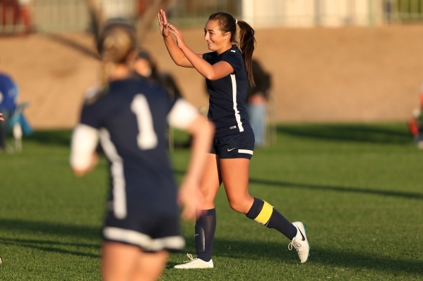 Foothill's Katherine Ballou (6) celebrates her goal against Silverado in the girls Sunrise Regional semifinal game at the Bettye Wilson Soccer Complex in Las Vegas Thursday, Nov. 5, 2015. Si ...