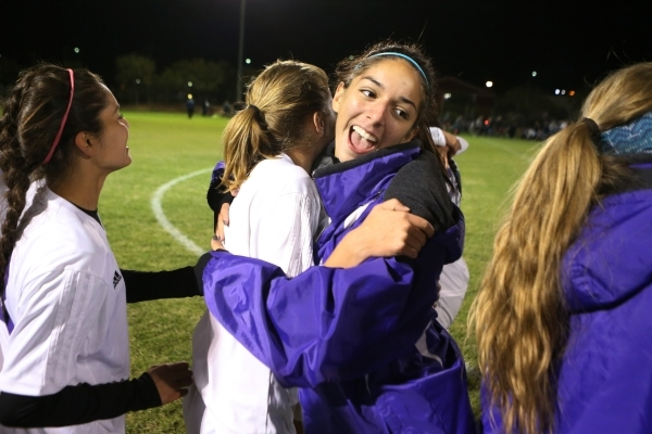 Silverado's Francesca Locascio (13), right, embraces Chase Jenkins (2) as they celebrate their win against Foothill in the girls Sunrise Regional semifinal game at the Bettye Wilson Soccer C ...