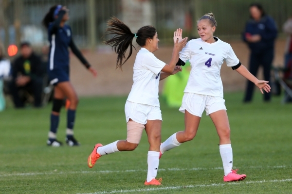 Silverado's Victoria Sanchez (3) celebrates her goal against Foothill with her teammate Deanna Passerella (4) in the girls Sunrise Regional semifinal game at the Bettye Wilson Soccer Complex ...