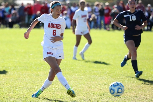 Arbor View's Marcella Brooks (6) kicks the ball for a goal against Centennial in their Sunset Region girls championship game Saturday, Nov. 7, 2015. Arbor View won 4-0. Erik Verduzco/Las Veg ...