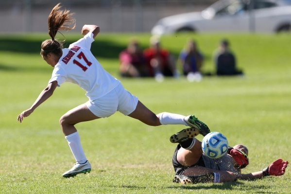 Arbor View's Deja Erickson (17) is stopped on her path to the goal against Centennial in their Sunset Region girls championship game Saturday, Nov. 7, 2015. Arbor View won 4-0. Erik Verduzco ...