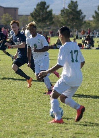 Green Valley's Estevan Uribe (17) looks to pass during the Sunrise Region boys soccer championship against Coronado High School at Bettye Wilson Park on Saturday, Nov. 7, 2015. Daniel Clark/ ...