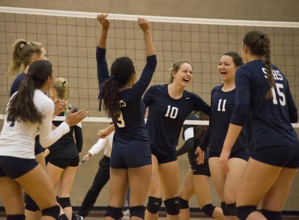 Shadow Ridge celebrates a point during the Sunset Region girls volleyball semifinal against Palo Verde High School at Arbor View High School in Las Vegas on Thursday, Nov. 5, 2015. Daniel Clark/La ...
