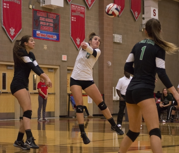 Palo Verde's Virginia Rallo (17) hits the ball during the Sunset Region girls volleyball semifinal against Shadow Ridge High School at Arbor View High School in Las Vegas on Thursday, Nov. 5 ...