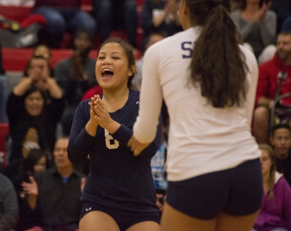Shadow Ridge's Kamryn Ramirez (8) celebrates a point during the Sunset Region girls volleyball semifinal against Palo Verde High School at Arbor View High School in Las Vegas on Thursday, No ...