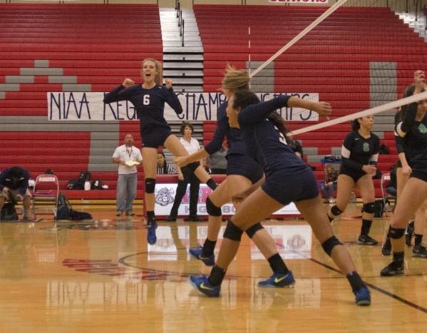 Shadow Ridge High School celebrates after winning the Sunset Region girls volleyball semifinal against Palo Verde High School at Arbor View High School in Las Vegas on Thursday, Nov. 5, 2015. Dani ...