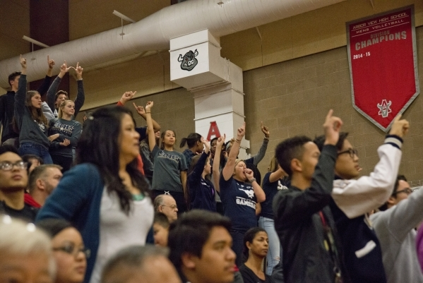 Shadow Ridge High School fans celebrate at the end of the Sunset Region girls volleyball semifinal against Palo Verde High School at Arbor View High School in Las Vegas on Thursday, Nov. 5, 2015.  ...