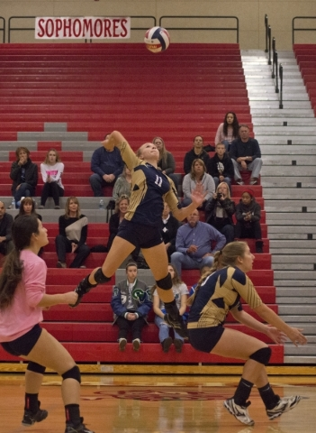 Foothill's Whitley Brow (11) hits the ball during the Sunrise Region girls volleyball final against Coronado High School at Arbor View High School on Thursday, Nov. 5, 2015. Daniel Clark/Las ...
