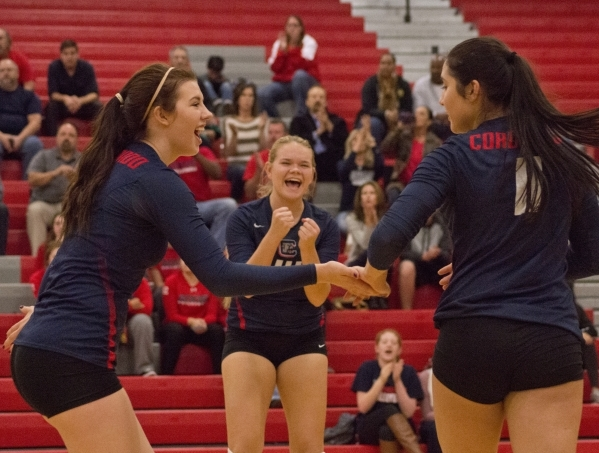 Coronado High School celebrates a point during the Sunrise Region girls volleyball final against Foothill High School at Arbor View High School on Thursday, Nov. 5, 2015. Daniel Clark/Las Vegas Re ...
