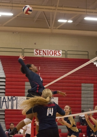Coronado's Olivia Keller (4) during the Sunrise Region girls volleyball final against Foothill High School at Arbor View High School on Thursday, Nov. 5, 2015. Daniel Clark/Las Vegas Review- ...