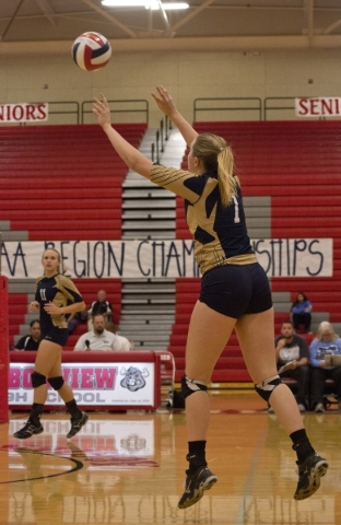 Foothill's Courtney Nilson (7) sets the ball during the Sunrise Region girls volleyball final against Coronado High School at Arbor View High School on Thursday, Nov. 5, 2015. Daniel Clark/L ...